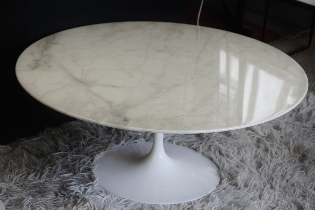 Table basse knoll marbre - Table ronde marbre pied central ...